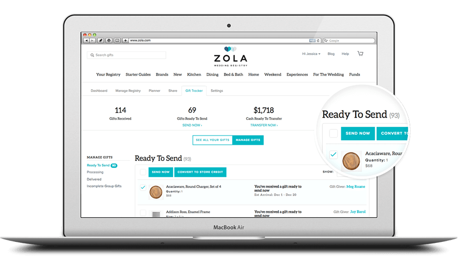 Controlled Shipping & Exchanges on Zola Wedding Registry