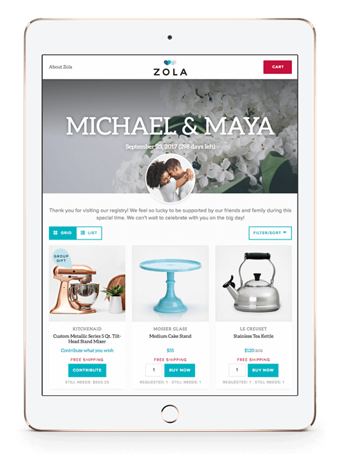 Everything in One Place on Zola Wedding Registry